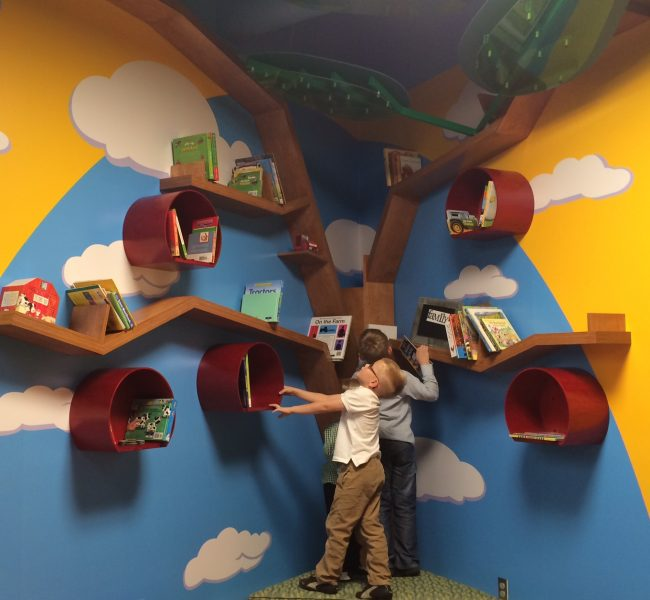 Children at Tree Bookshelf