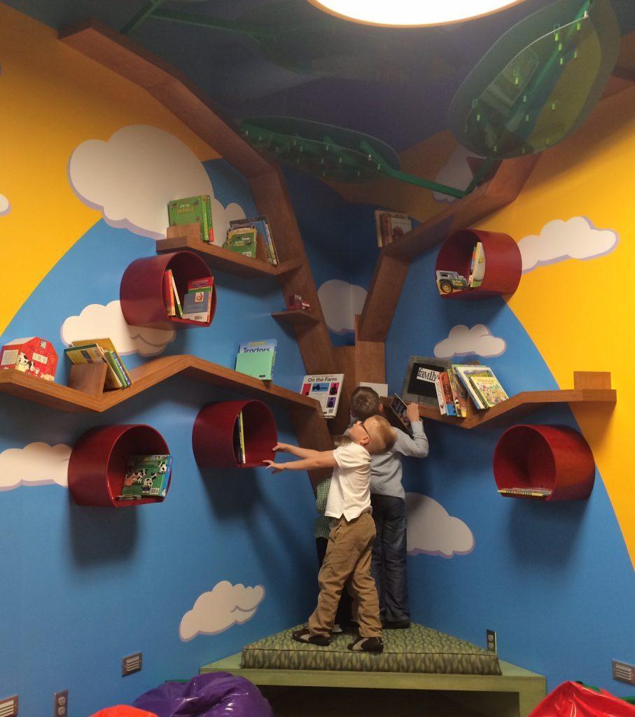 Children at Tree Bookshelf