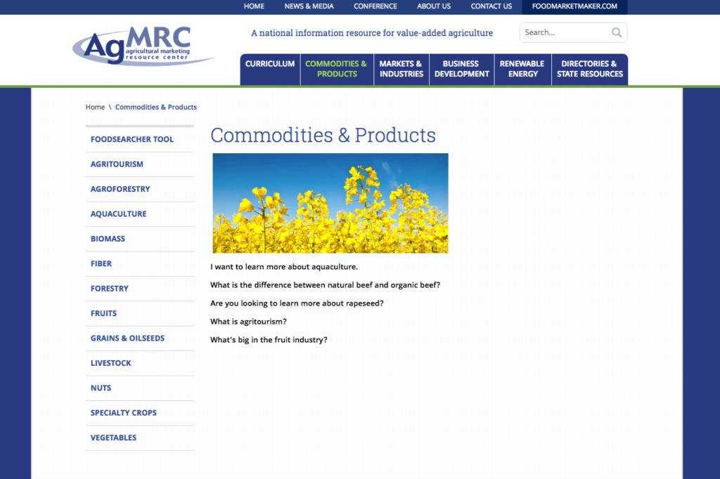 Ag MRC Webpage Screenshot