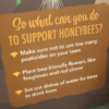 Closeup of text on Buzz about Bees display, explaining how people can help bees