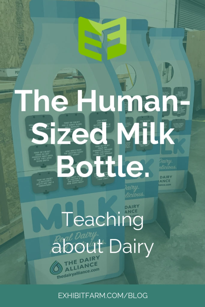 Milk Bottle Display Promo, showing three of the standup dairy displays in a line