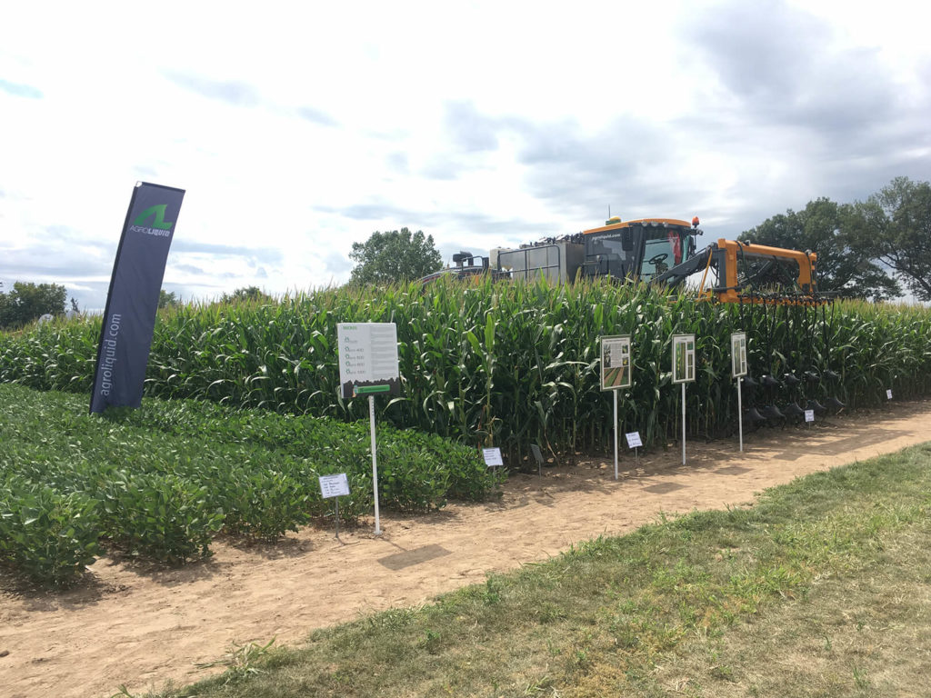 Crop fields and agricultural machinery at the 2019 AgroExpo in St Johns Michigan