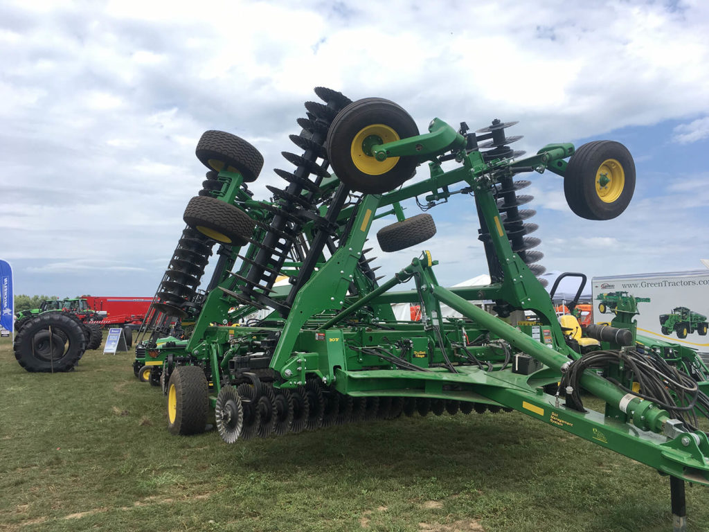 Large agricultural machinery at the 2019 AgroExpo in St Johns Michigan