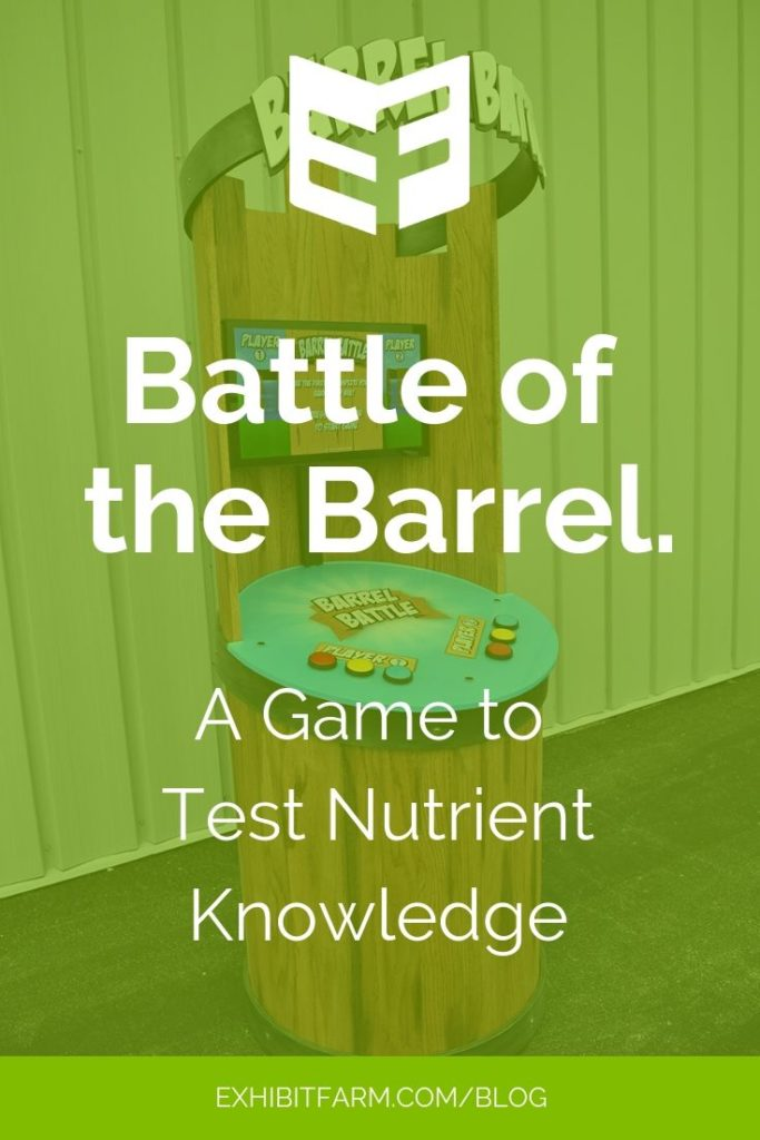 Promotional graphic with picture of Barrel Battle game, explaining that the game tests knowledge of plant nutrients.