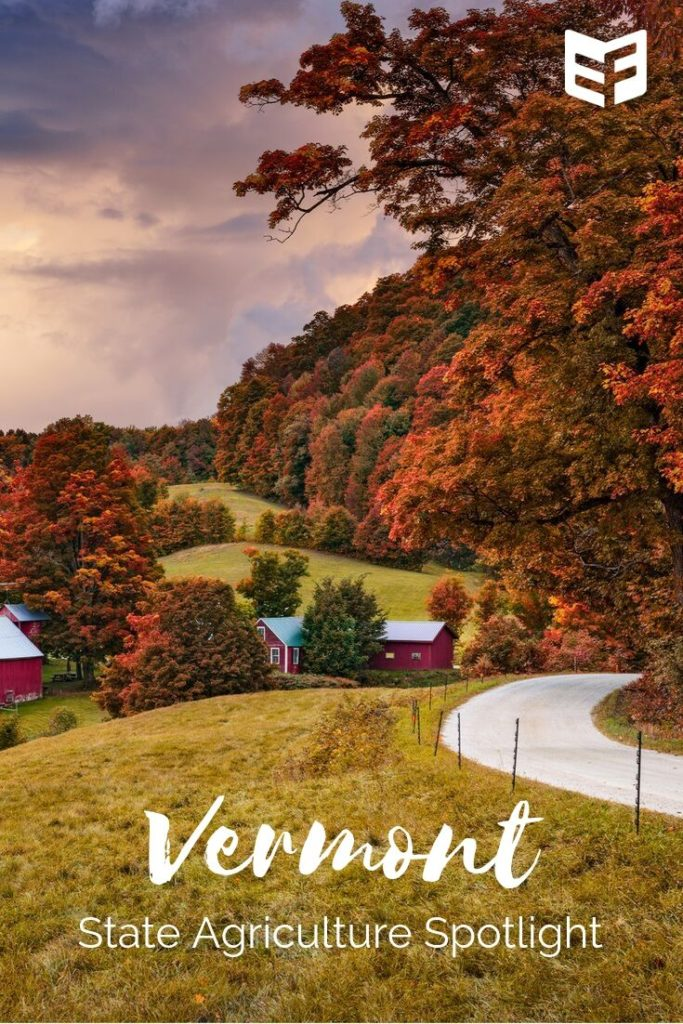 Photo showing red barns on hilly landscape surrounded by rusty orange trees; text reads Vermont State Agriculture Spotlight