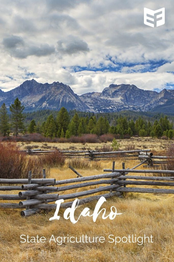 Photo of split-rail fence in front of pasture, evergreen trees, and Idaho's Sawtooth mountains. Text reads: Idaho State Agriculture Spotlight