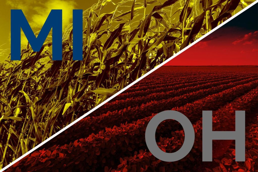 Promo for article comparing Michigan and Ohio agriculture. Graphic is split between red and yellow filters over photos of soybeans and corn respectively.