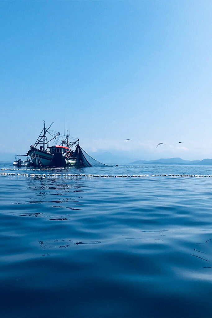 Fishing boat on the ocean; used for article on wild-caught vs. farmed fish