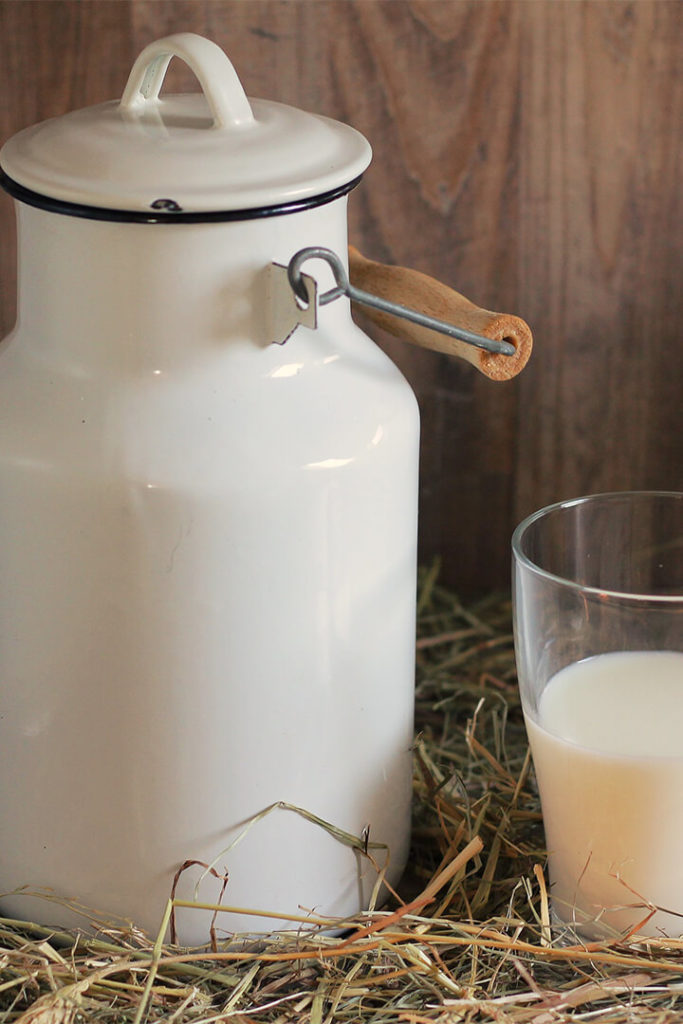 Can of milk and glass of milk sitting in hay