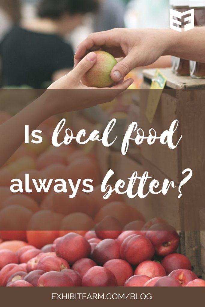 "Brown graphic; text reads ""Is local food always better?"""