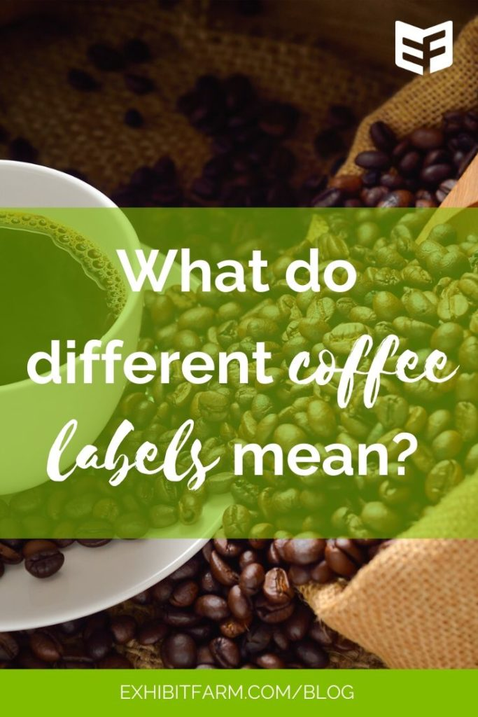 "Green graphic; text reads ""What do different coffee labels mean?"""