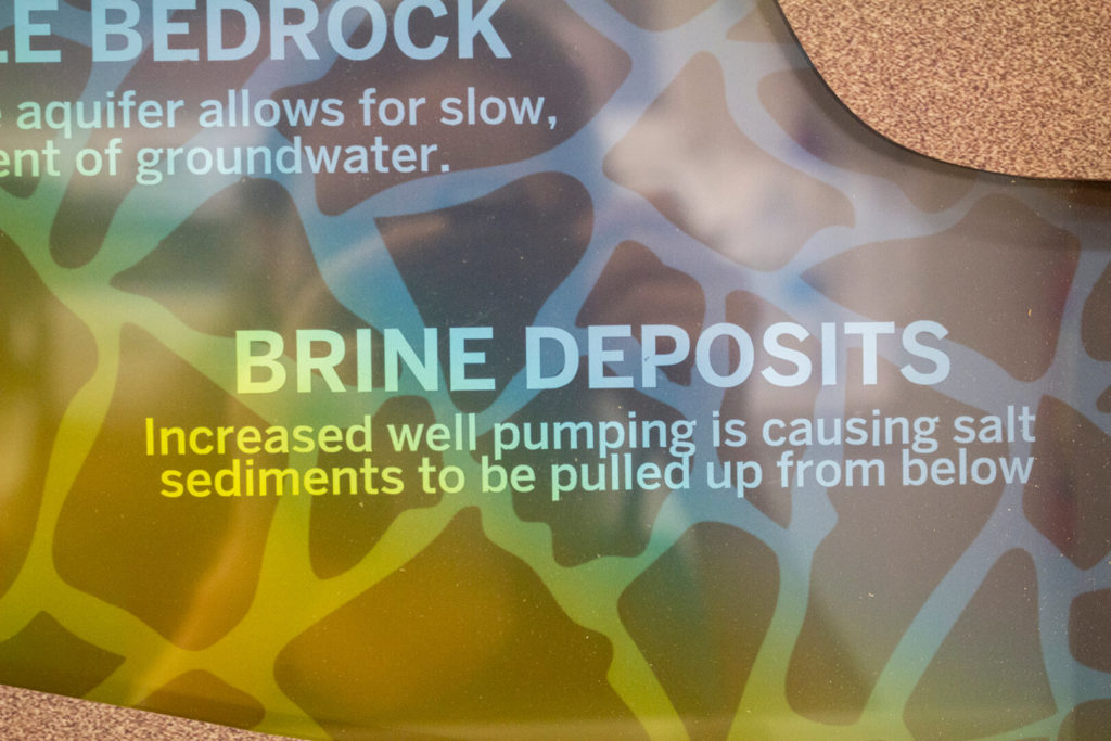Closeup of the groundwater challenges display, showing the colored gradient representing brine deposits