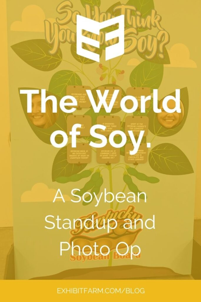 """Yellow graphic; text reads """"The World of Soy: A Soybean Standup and Photo Op"""""""