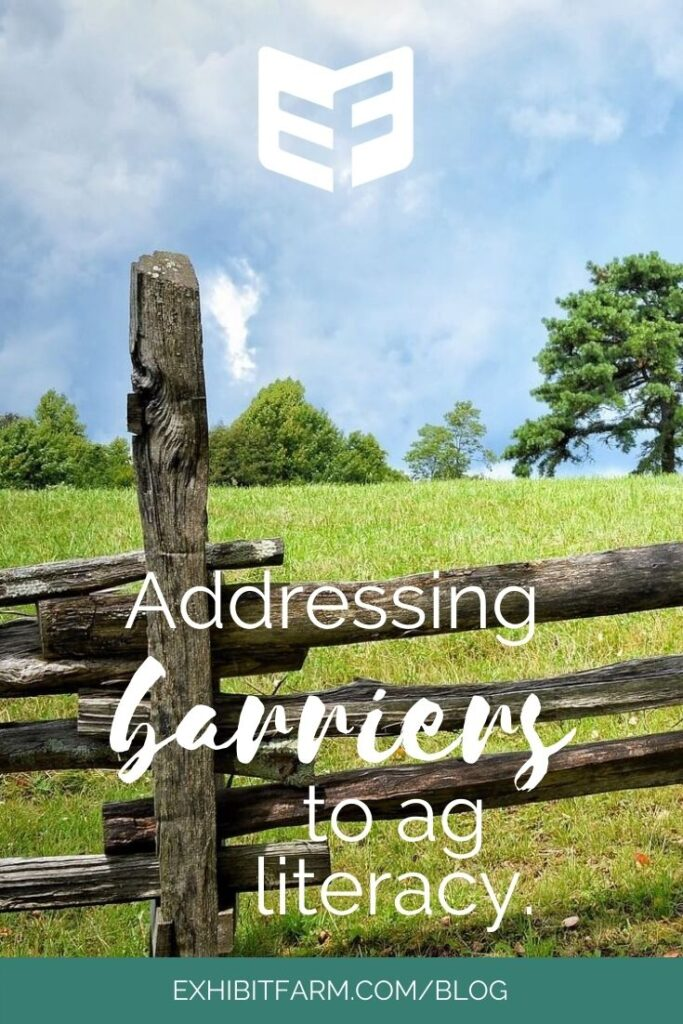 """Photo of a split-rail fence; text reads """"Addressing barriers to ag literacy"""""""