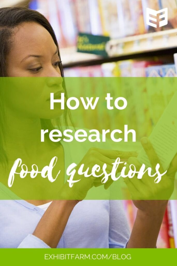 "Green graphic; text reads ""How to research food questions"""
