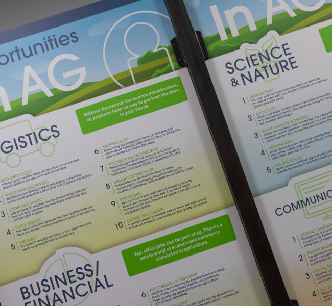 Angled view of two panels describing careers in agriculture