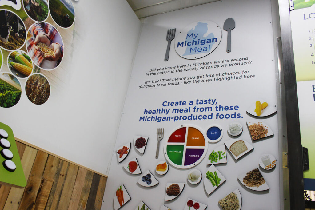 Low-angle view of interactive food choices display