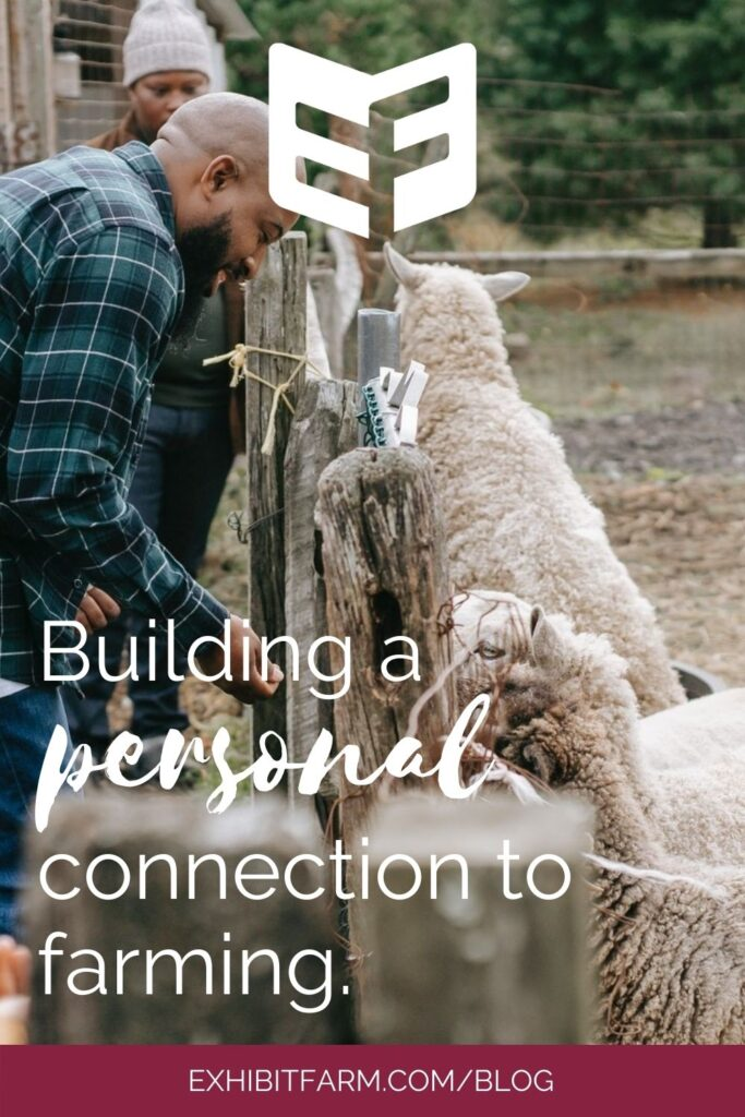 """Graphic of family feeding sheep through wood fence; text reads """"Building a personal connection to farming"""""""