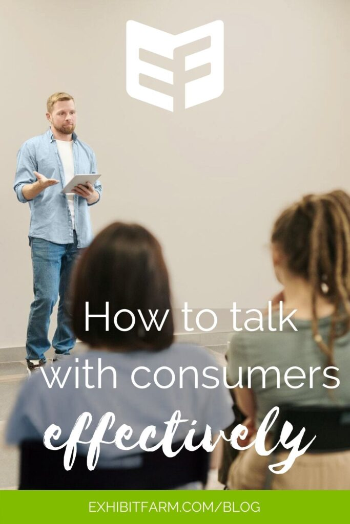 """Photo of casually-dressed man talking to group; text reads """"How to talk with consumers effectively"""""""
