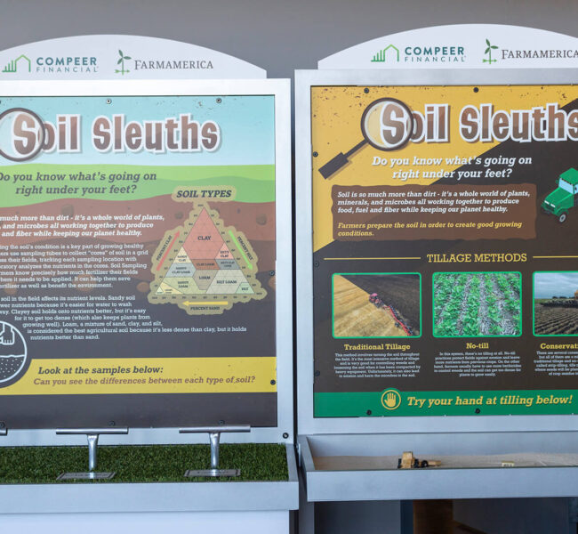 Closeup of the front panels of the soil science displays