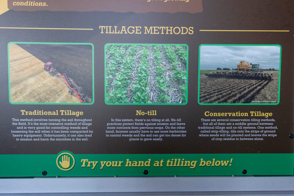 Closeup of graphics explaining the differences between different tillage methods