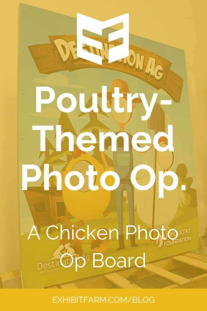 """Yellow graphic; text reads """"Poultry-Themed Photo Op: A Chicken Photo Op Board"""""""