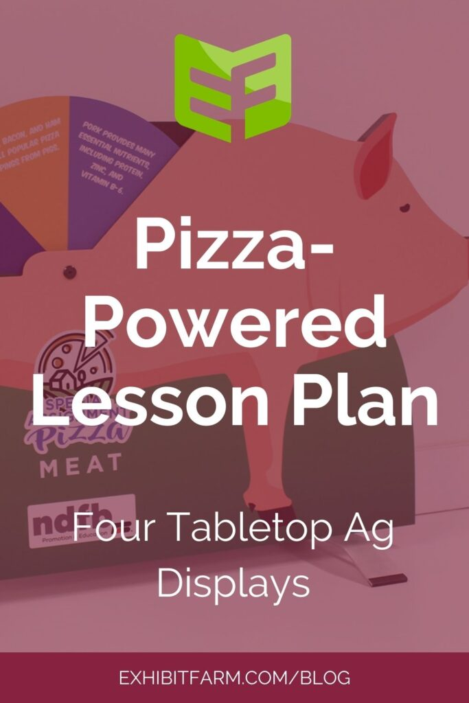 "Red graphic; text reads, ""Pizza-Powered Lesson Plan: Four Tabletop Ag Displays."""