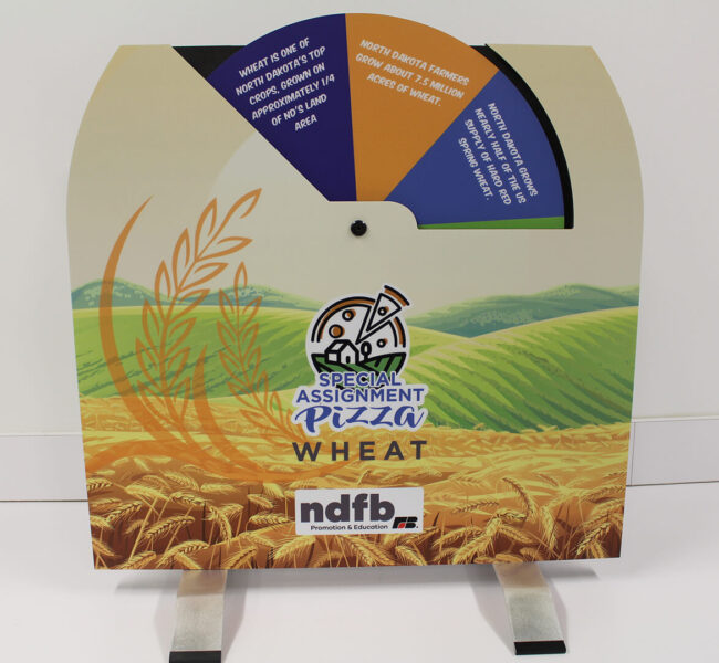 Tabletop display about wheat with spinning fact wheel