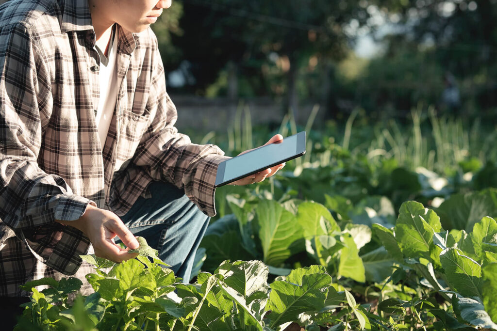 Example of an image challenging outdated ideas about agriculture; shows a farmer kneeling next to plants and carrying a tablet.