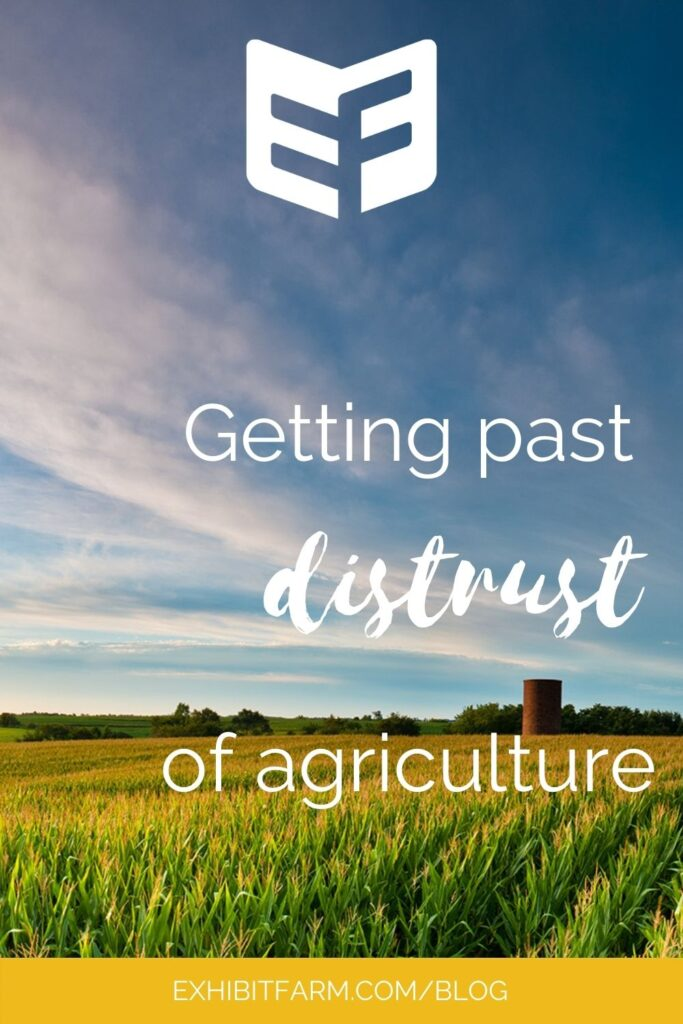 """Graphic with photo of cornfield under blue sky with clouds; text reads, """"Getting past distrust of agriculture."""""""