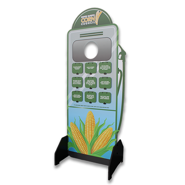 Standup display about renewable fuels; shaped like a gas pump