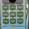 Nine flip-up panels, showing the trivia questions about renewable fuels