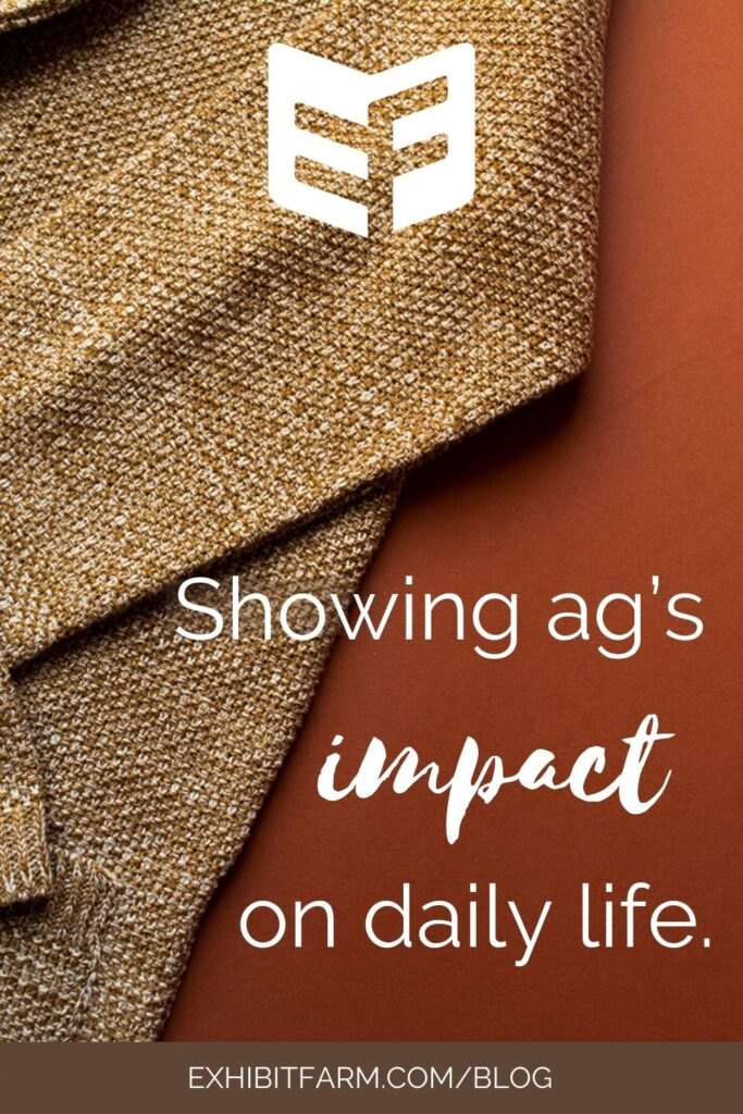 """Brown graphic with photo of tan wool sweater; text reads, """"Showing ag's impacts on daily life."""""""