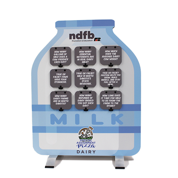 Tabletop version of the milk bottle display about dairy
