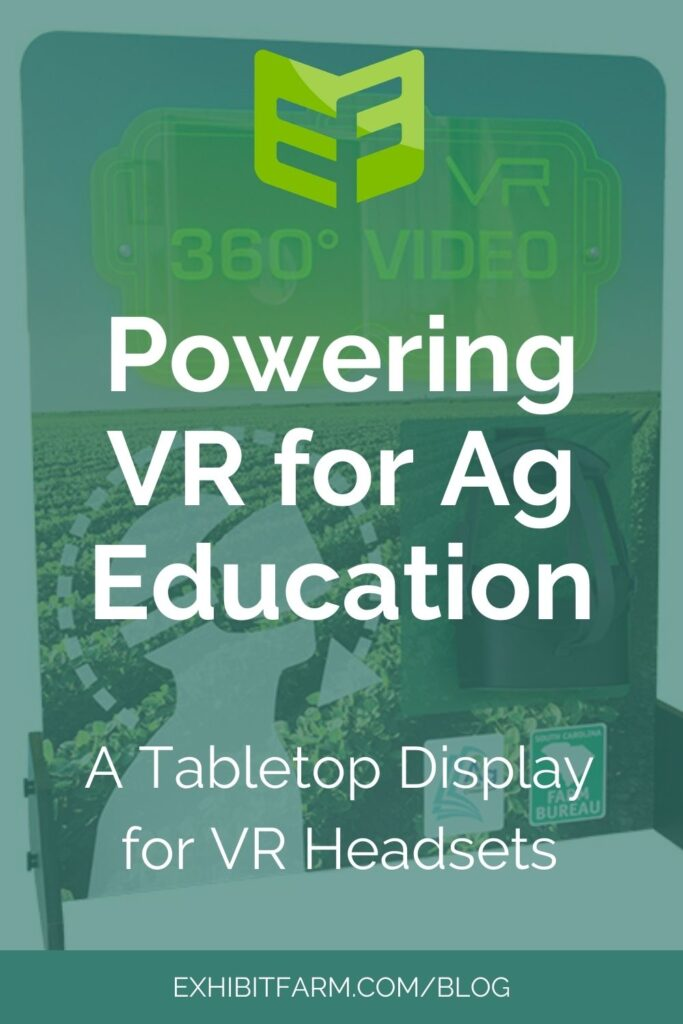 """Teal graphic; text reads, """"Powering VR for Ag Education: A Tabletop Display for VR Headsets."""""""