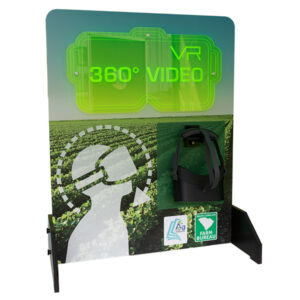 Display station for a VR headset with graphics showing how to wear it