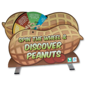 One side of the tabletop peanut display, showing wheel with fun facts