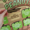 Closeup of a hand lifting flip-up door on peanut display to read answer