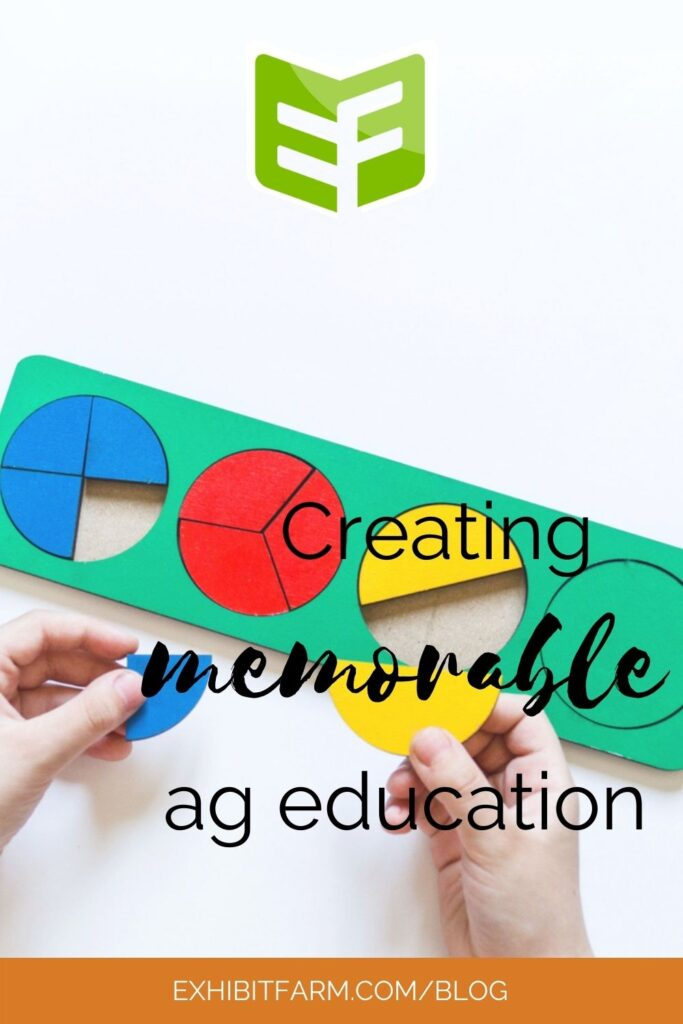 """Orange graphic; text reads, """"Creating memorable ag education."""""""