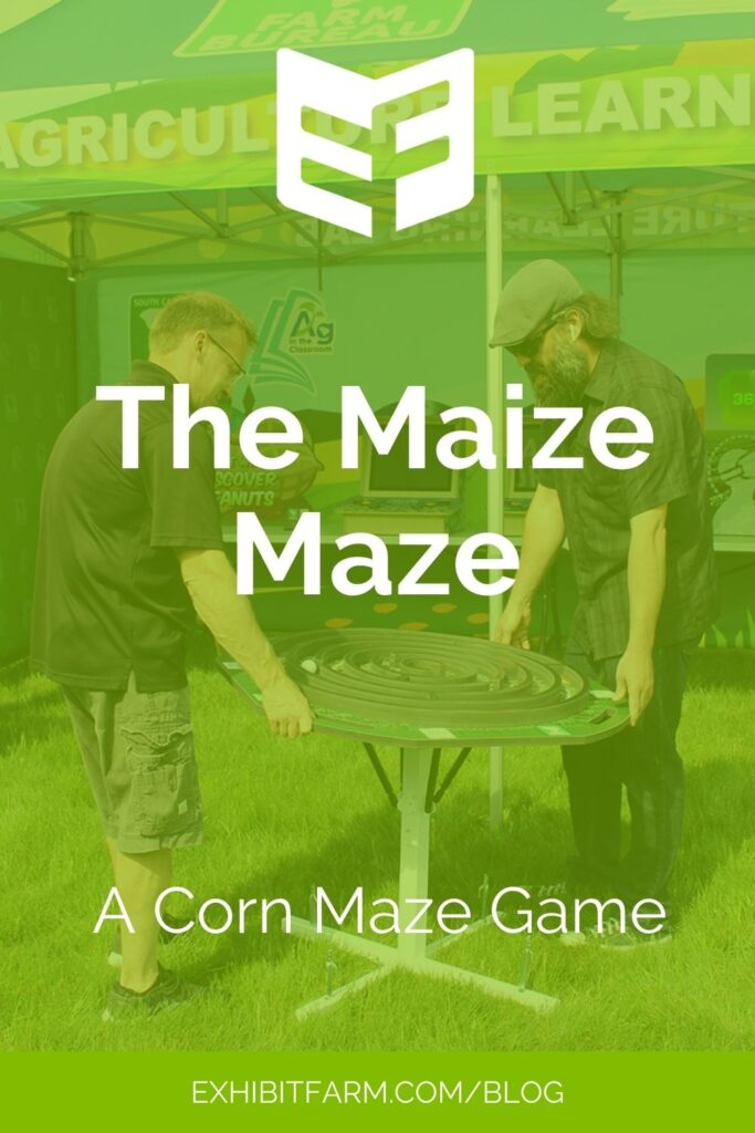 """Lime green graphic; text reads, """"The Maize Maze: A Corn Maze Game"""""""