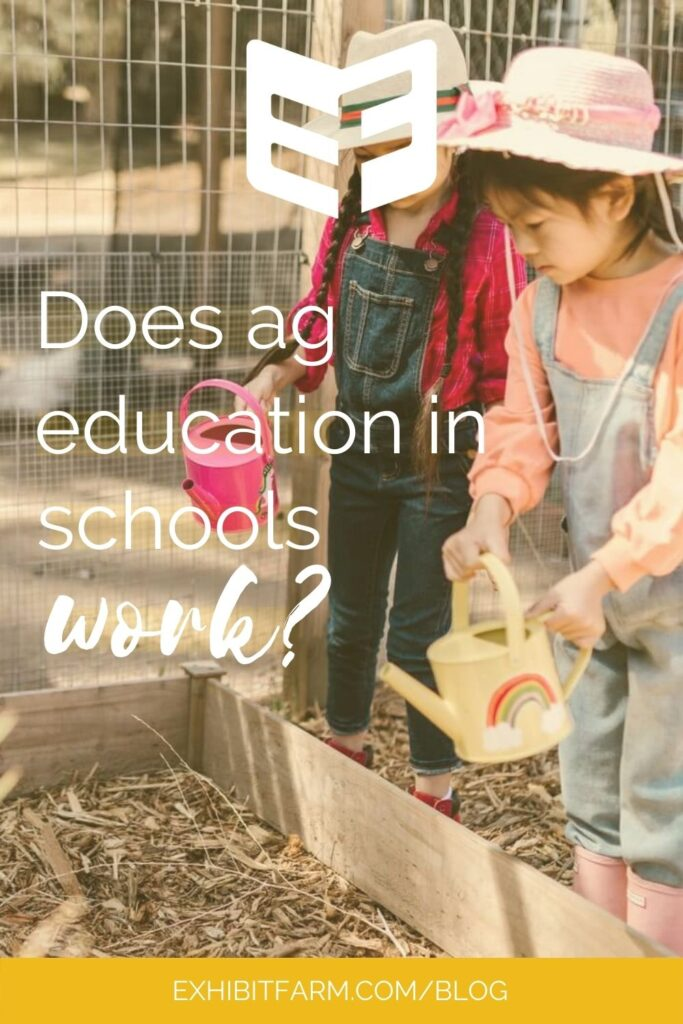 """Yellow graphic with photo of two little girls with watering cans; text reads, """"Does ag education in schools work?"""""""