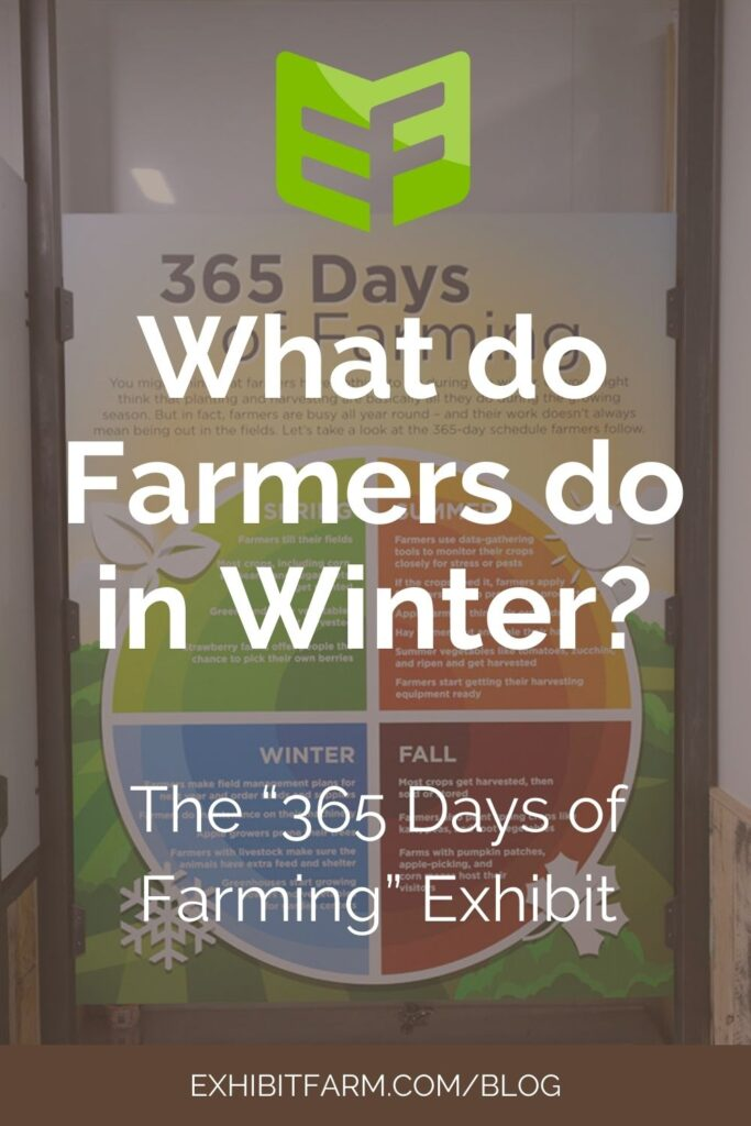 """Brown graphic; text reads, """"What do Farmers do in Winter? The '365 Days of Farming' Exhibit."""""""