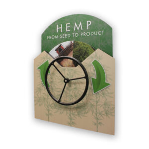 Green wall-mount display with a rotating wheel showing the life cycle of industrial hemp