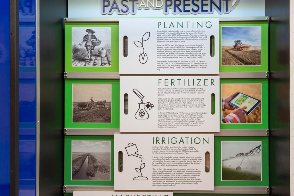 Series of info panels about how farming technology has changed from past to present.