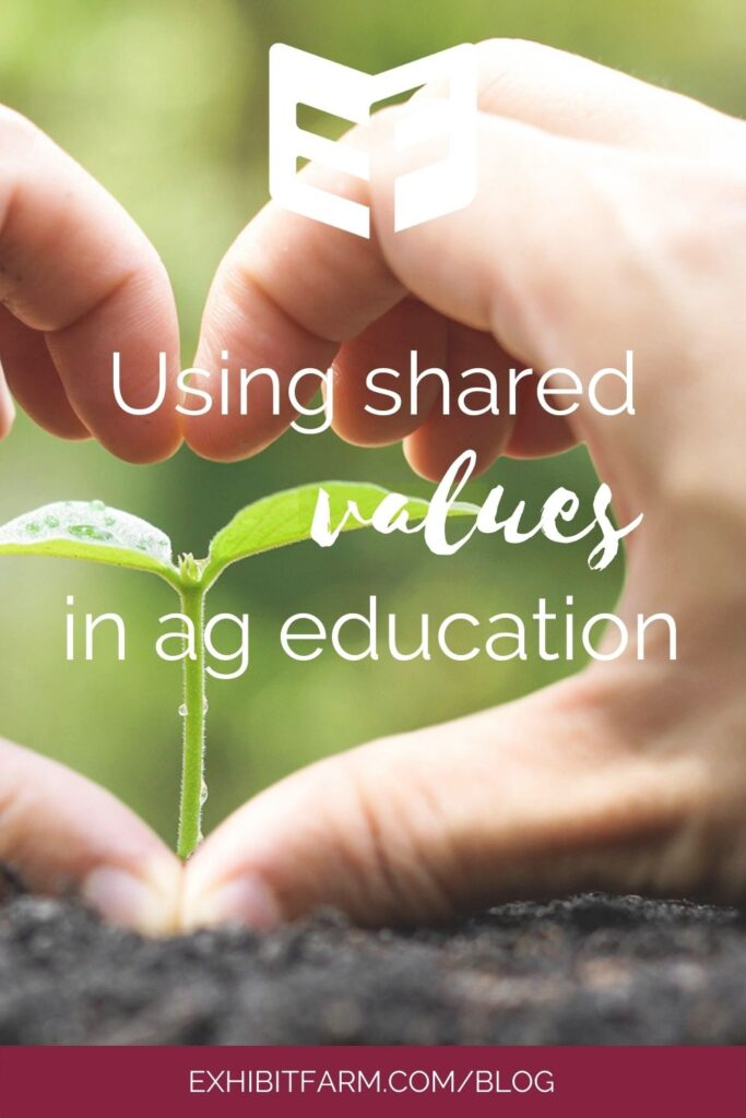 """Maroon graphic; text reads, """"Using shared values in agriculture education."""""""